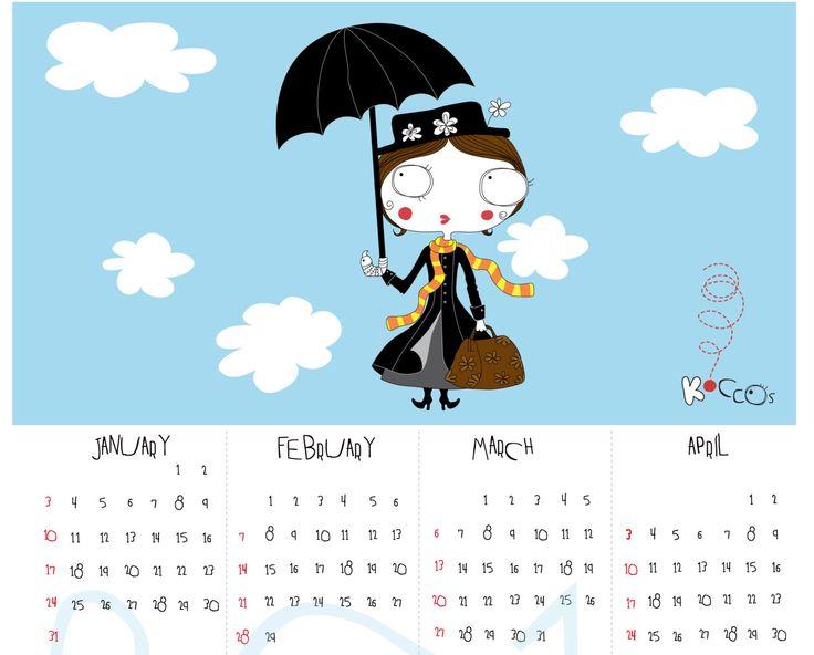 2016 Calendar | Printable Calendar, Mary Poppins Calendar, Year Printable Calendar, Illustrated Calendar, Instant Download by KoCcos on Etsy