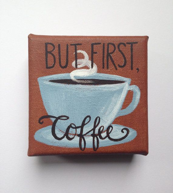 Mini Canvas Painting COFFEE by EverettandEloise on Etsy