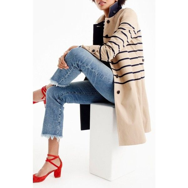 Petite Women's J.crew Stripe Trench Coat ($137) ❤ liked on Polyvore featuring outerwear, coats, barley, petite, white coat, j crew coats, fur-lined coats, petite trench coat and white trench coat