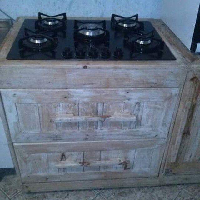 Paletes Tbm Na Cozinha Balcao Para Fogao Cooktop Cooktop