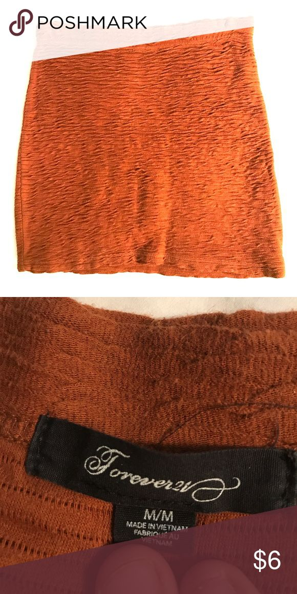 "Burnt orange bandeau skirt Forever 21 ""pleated"" Bandeau skirt. Super flattering Forever 21 Skirts Mini"