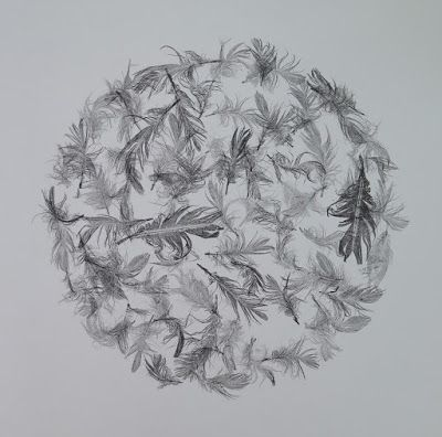 Stef Mitchell - Sphere of Feathers - Monoprint - 50 x 50cm https://www.etsy.com/uk/listing/253279772/large-original-modern-monochrome?ref=shop_home_active_1