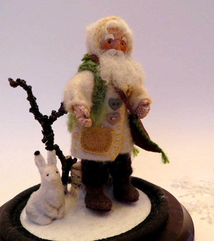 """""""Schumacher"""", the Itinerant shoemaker, miniature art doll of felt and polymer clay, 2011, by Lorraine K. Muenster of Winnipeg"""