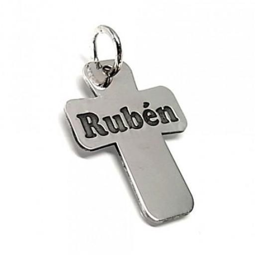 Colgante plata cruz con nombre