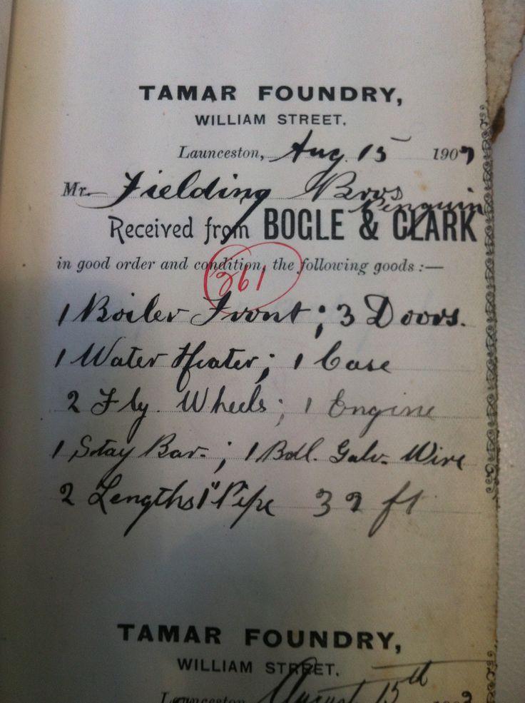 Tamar Foundry sales receipt book