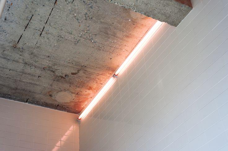 Blush coloured neon tube light Christina-Kim-Tube-Light-Remodelista