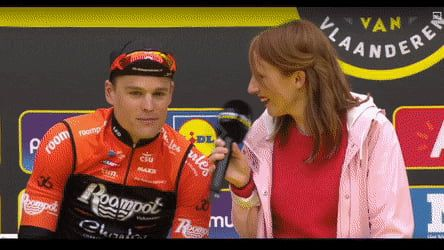 Presenter Accidentally Kisses Cyclist On The Lips Funny Meme