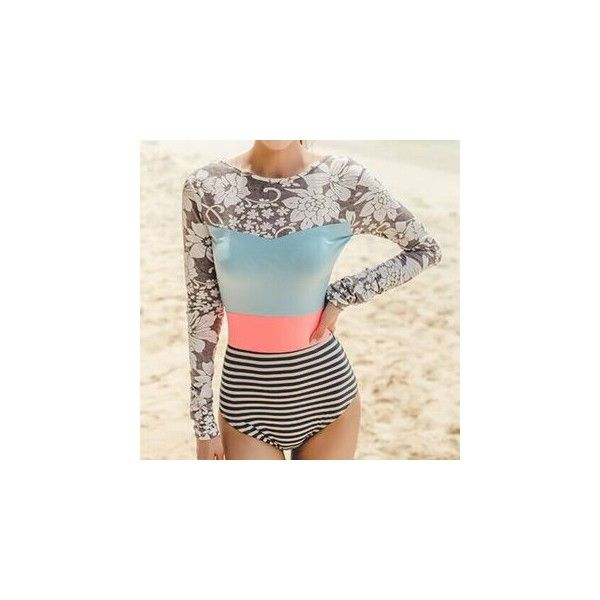Colour Block Stripe Floral Print Long-Sleeve Swimsuit ($27) ❤ liked on Polyvore featuring swimwear, one-piece swimsuits, women, floral swimwear, floral print swimsuit, swim costume, swim suits and one piece swimsuit