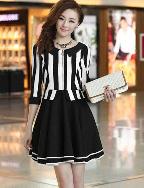 New Retro Style Stripe Slim Long Sleeve Zipper Coat                               _Long Sleeves Dress_Dresses_Wholesalekingdom.net