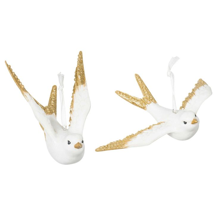 Decorazioni di Natale uccelli da appendere GOLD