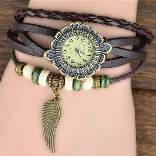 Black Bracelet Watch with feather charm