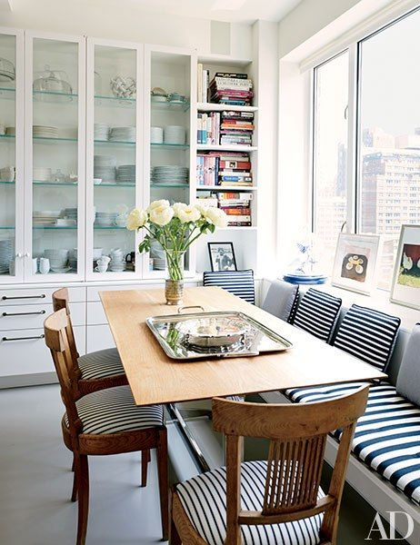 Glass cupboards, bench seating
