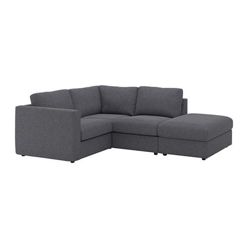 VIMLE Sectional, 3-seat corner - with open end/Gunnared medium gray - IKEA