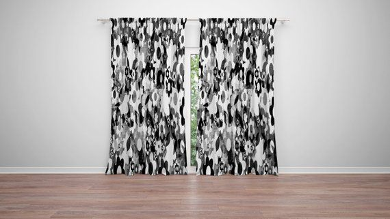 Black And White Floral Pattern Window Curtains 50 X 84 Curtain