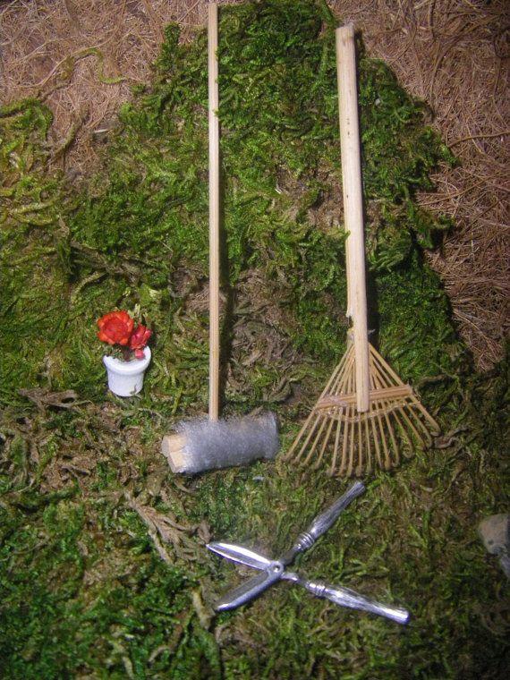 Mini Rake Push bezem, tuin schaar, miniatuur tuin Tools 1/12 schaal - Fairy Tuin, miniatuur poppenhuis