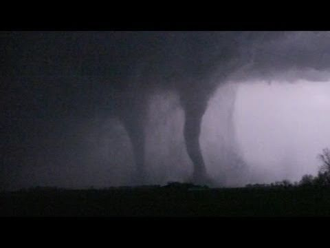 "Storm chasers Scott Peake, Kevin Rolfs and Colt Forney documented the progression of a multi-vortex tornado and eventually witnessed simultaneous stovepipe ""twin tornadoes"" near Pocohontas, IA, part of the April 9, 2011 outbreak!     - Follow the Basehunters chase team on Facebook:http://www.facebook.com/pages/Basehunters/202554713102266    Watc..."