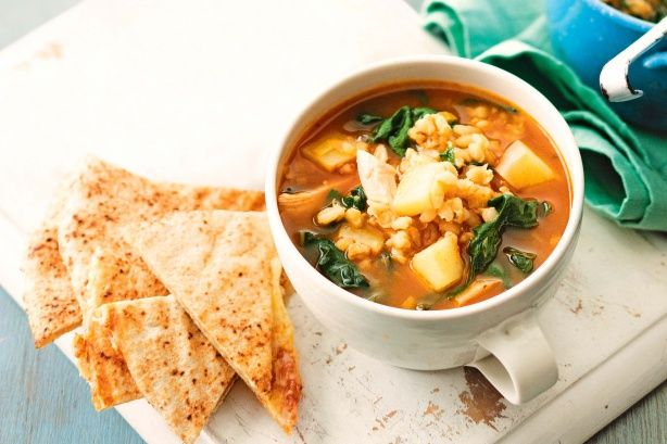 Chicken and barley soup with cheesy flatbreads main image