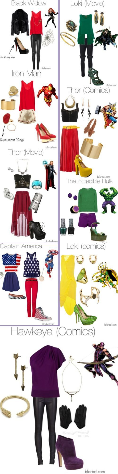 Avengers outfits. I LOVE the Thor (movie) outfit, Black Widow outfit and Loki (movie) outfit.