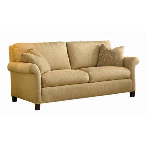 Transitional Rolled Arm Sofa With Tapered Wood Legs By Sherrill   Baeru0027s  Furniture   Sofa Miami