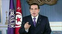 Tunisia's President Zine al-Abidine Ben Ali addresses the nation in this still image taken from video, January 13, 2011.