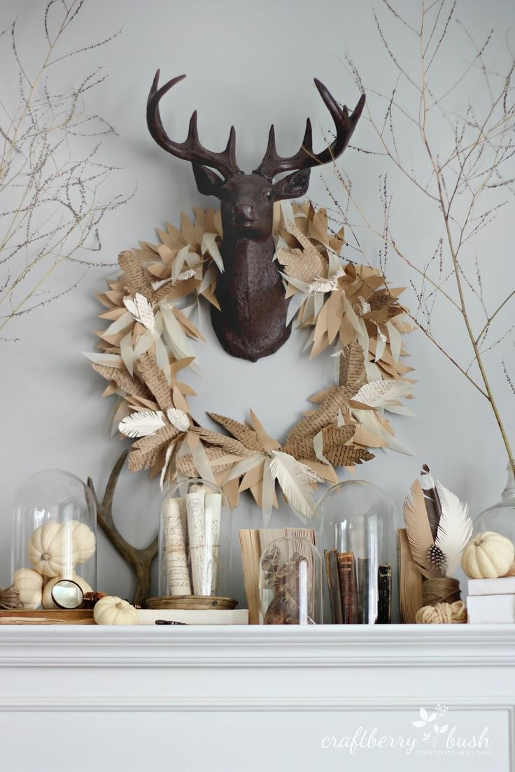 85 best house decor antler woodland rustic images on pinterest how to make a paper feather wreath wreath fallpaper arubaitofo Images