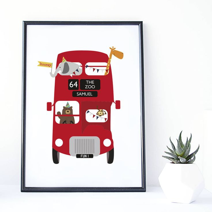 Are you interested in our zoo bus personalised childrens print? With our red london bus zoo animal picture for kids you need look no further.