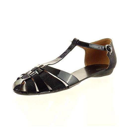 Sopily - damen Mode Schuhe Sandalen T-Spange Patent glitzer - Schwarz WLD-13-151-23 T 38 - Sandalen für frauen (*Partner-Link)