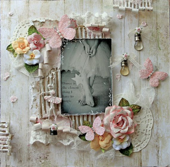 Just Listed~Reneabouquets- Magic Premade Scrapbook Page 12 x 12 Blue Fern, Prima, Shabby Chic, Wedding, Mixed Media, Layout