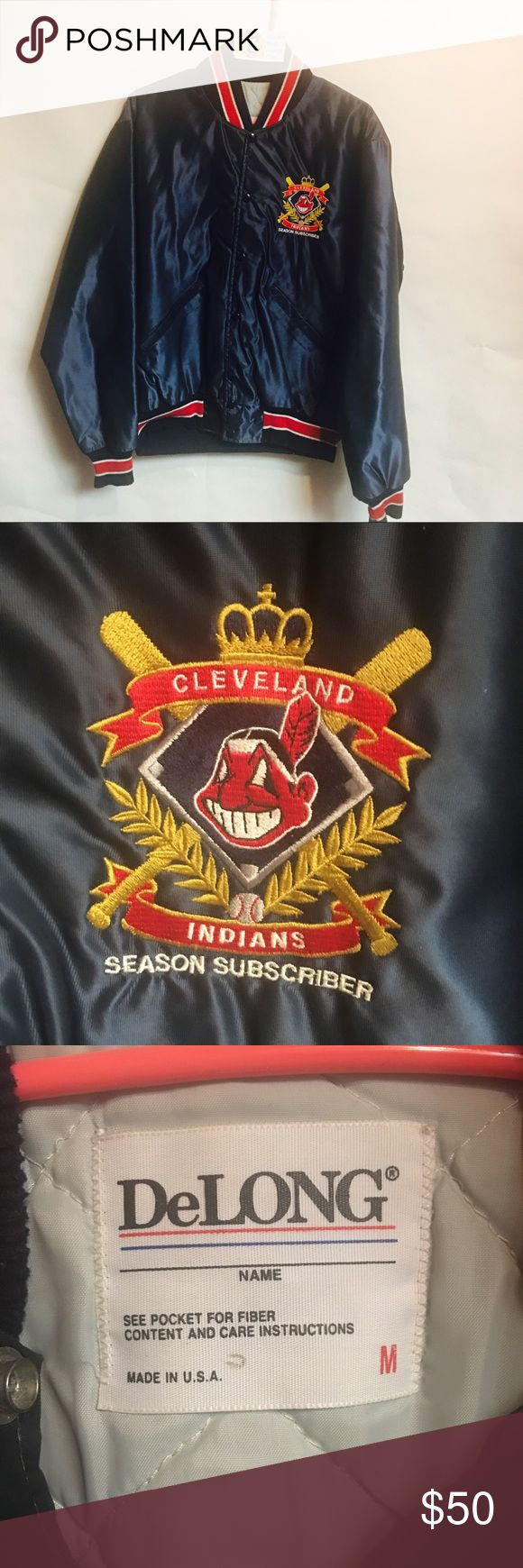 Vintage Cleveland Indians Satin Bomber Jacket Vintage DeLong Cleveland Indians Satin Button Up Bomber Jacket. Rare Jacket only given out to Indians Season Ticket Holders. This RARE jacket is a Men's Medium and is in excellent condition with no major flaws. Fits true to size Vintage Jackets & Coats Bomber & Varsity