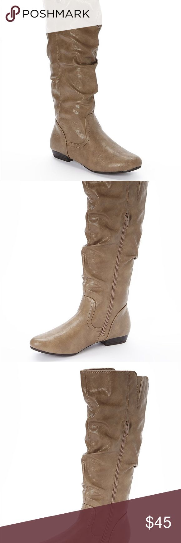 """White Mountain Women's Fun House Wide Calf Boots Designed for a perfect fit, these White Mountain leather boots have a wide calf design that doesn't pinch or bind muscular or larger legs. The slouchy faux leather construction looks great when worn over leggings or jeans, and the side zipper makes these boots easy to put on and take off.  Dress boots are made from faux leather and man-made materials for durability Mid-calf boots have a side zipper for easy wear 1"""" Low heel  Round toe and…"""