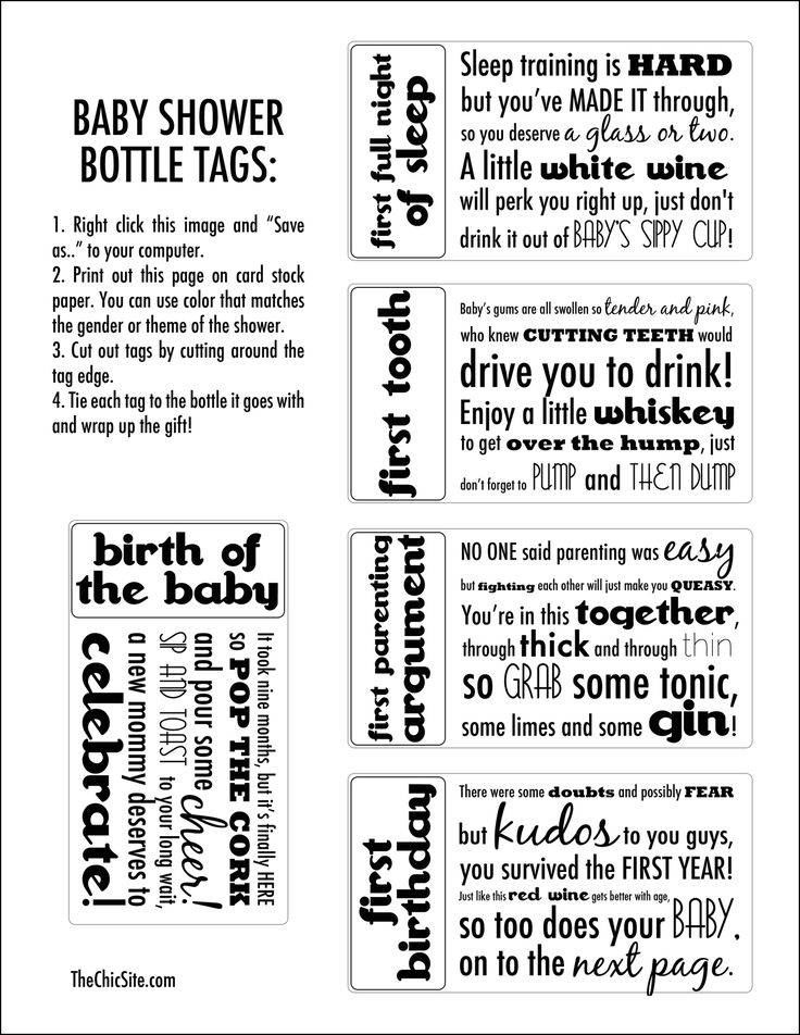 Printable Baby Shower Bottle Tags from The Chic Sit