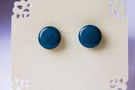 Emerald green stud earrings  deep green stud от JewelryBest