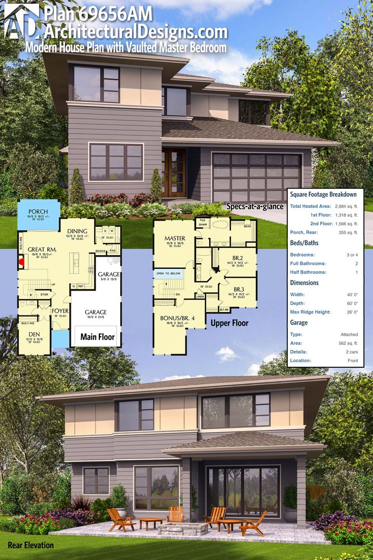 Architectural Designs Modern House Plan 69656AM gives
