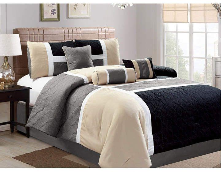 7 Piece Luxury Bedding Set Cal King Blue Luxlen