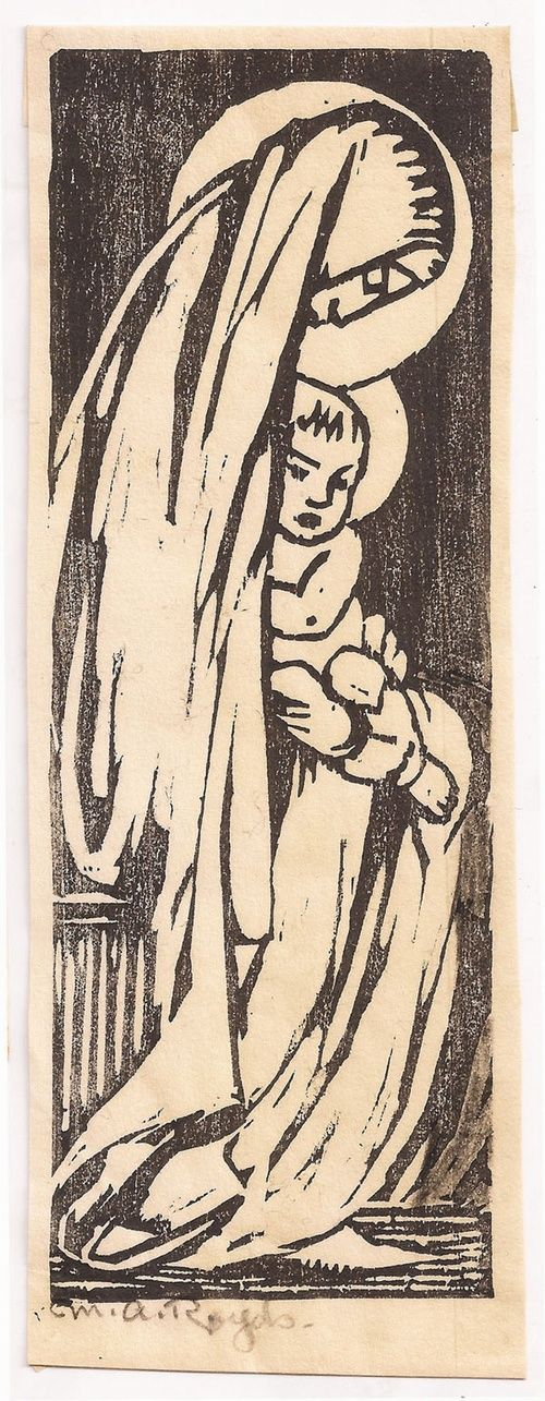 Royds, Mabel (1874-1941), 'Virgin and Child', Woodcut.