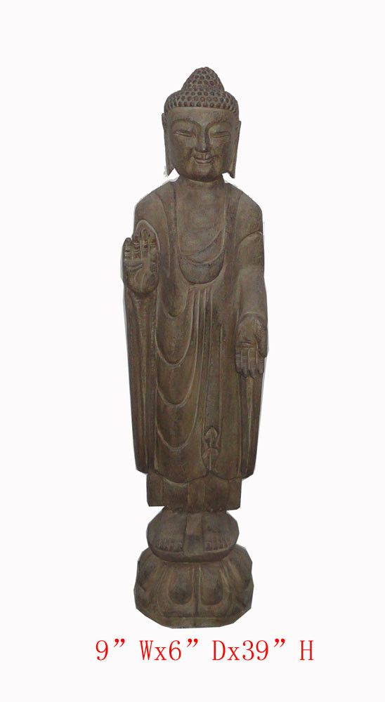 """This is a Chinese antique standing Buddha which is made of stone. It should be a gorgeous garden statue. Outside Dimensions: 9""""Wx6""""Dx39""""H Origin: Northern China Material: Solid Stone USA domestic cont"""