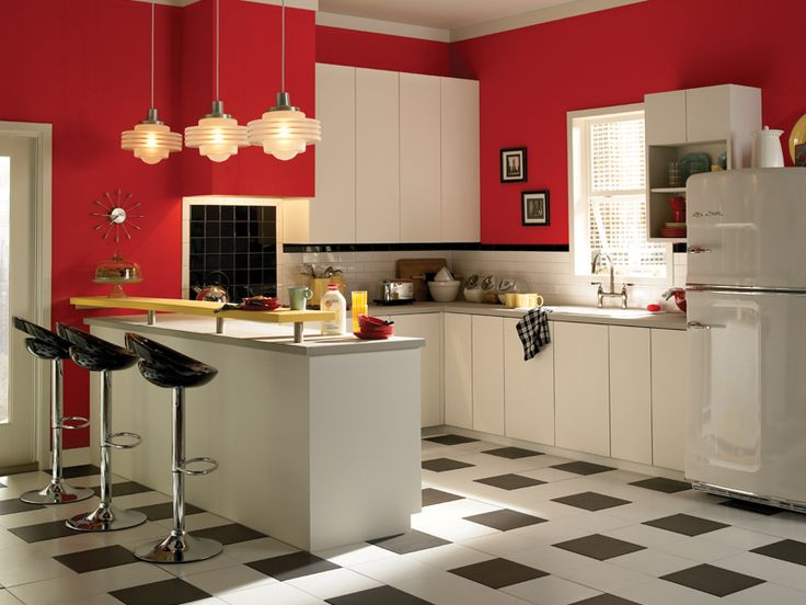 Retro kitchen retro kitchens retro and red for Best brand of paint for kitchen cabinets with metal disc wall art
