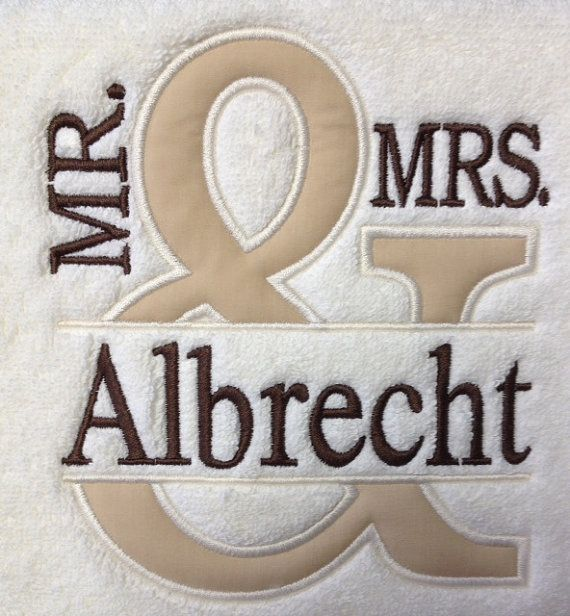 Bath towel will have the Mr & Mrs design along with one name. The hand towel will have est. and the year of the wedding. These are wonderful