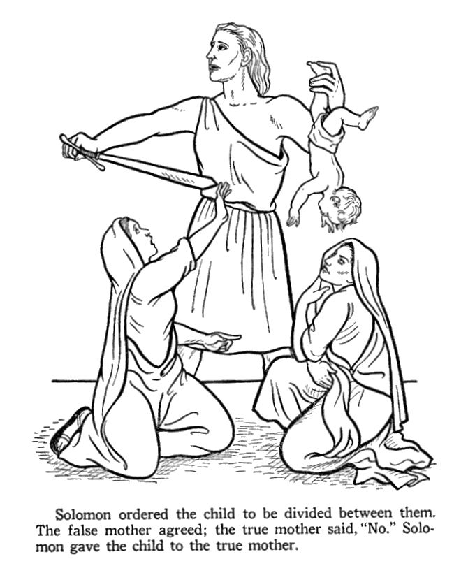 King Solomon ordering the child to be cut in two. Bible coloring pages