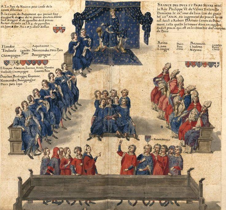 Miniature représentant une cour de justice des pairs en 1329 (Gaignières 255) -- dessin, Fonds Gaignières [BNF Est Réserve OA-11] -- «Seance des Ducs et Pairs Seans avec le Roy Philippe VI de Valois en la ville de Damiens le IXe jour de Juin lan de grace M iiiC XXIX. au jugement du proces Criminel faict a Robert D'Artois Comte de Beaumont, telle quelle se trouve dans un registre dudict proces qui est en la chambre des comptes de Paris.»