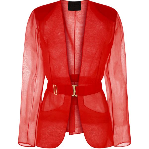 La Perla Esprit D'atelier Jacket found on Polyvore featuring outerwear, jackets, red, logo jackets, metallic jacket, shiny jacket, red jacket and fleece-lined jackets