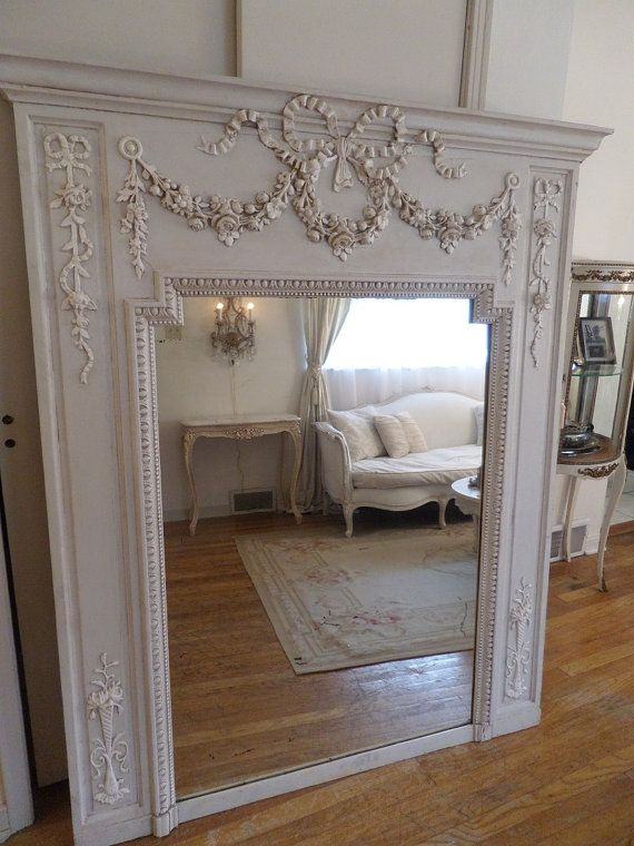 Stunning Antique Huge French Trumeau Mirror by thequeensstuff