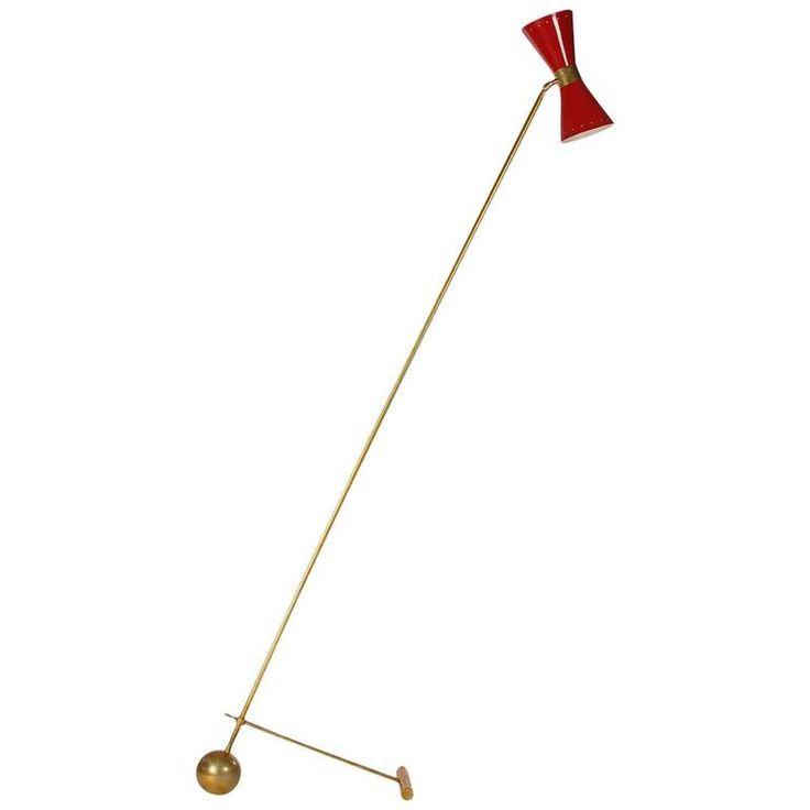 midcentury modern italian brass and red floor lamp by stilnovo or arredoluce