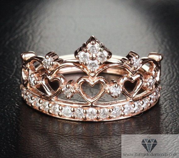 Rose Gold Crown Ring Diamond Pave Exclusive on Etsy, $1,100.00