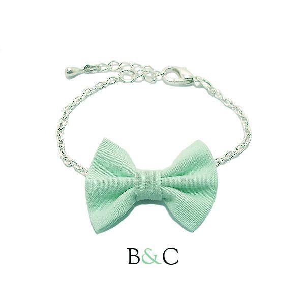 """Bracelet Chaîne Argentée Noeud Papillon Coton """"Vert d'Eau"""" Romantique Mariage : Bracelet par barrettesetchouchous"""