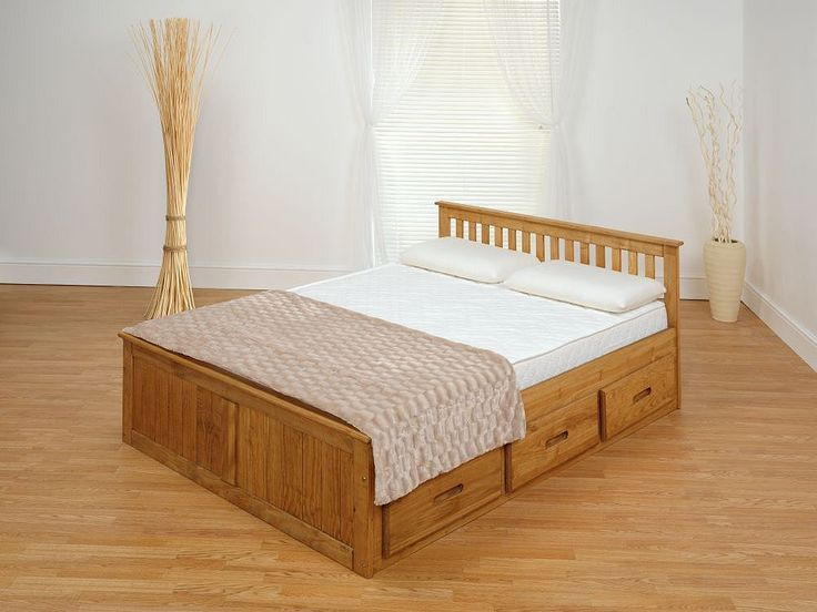 Tesco direct: Happy Beds Mission Waxed Pine Wooden Storage Bed Spring Mattress