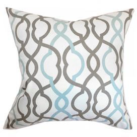 """Cotton pillow with a down fill and linked trellis motif. Made in the USA.     Product: PillowConstruction Material: Cotton cover and down fillColor: Blue, brown and whiteFeatures:  Insert includedHidden zipper closure Dimensions: 18"""" x 18""""Cleaning and Care: Spot clean"""