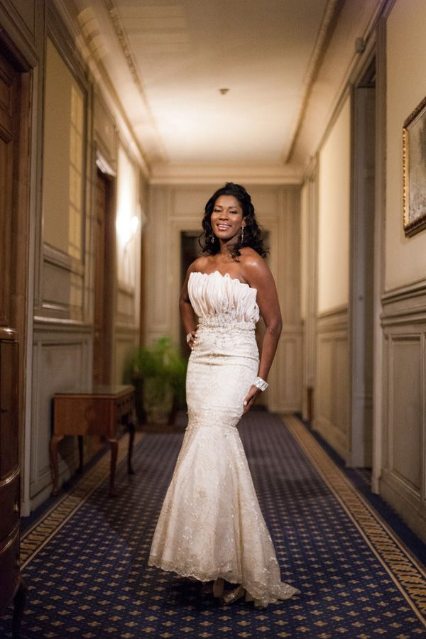 Nigerian Celebrity Wedding Dresses : Blushing bride stephanie okereke in a stunning elie by