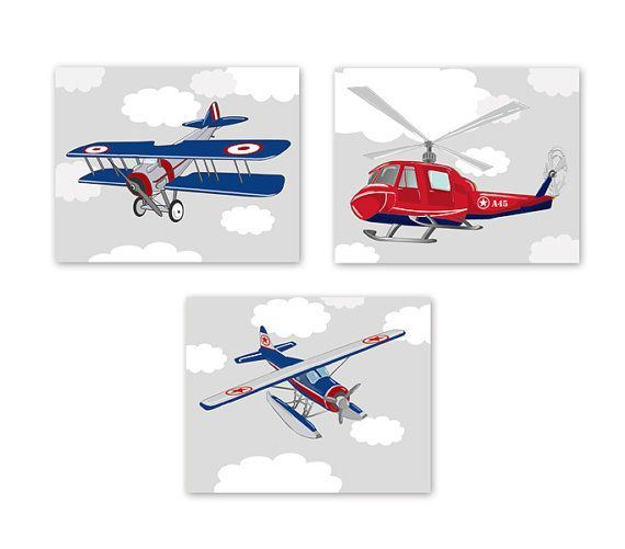 Baby Boy Nursery Art Airplane and Helicopter Prints , Kids Wall Art - Airplane Nursery Art - Vintage Airplane Art -Set of Three Prints