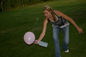Object of the Game: Get the balloon from the start line to the bucket using only a squirt bottle